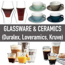 แก้ว, ถ้วยกาแฟ, จานรอง (Glassware & Ceramic Cups)