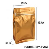 250g Pocket Zipper+Valve -Gold Dimensions