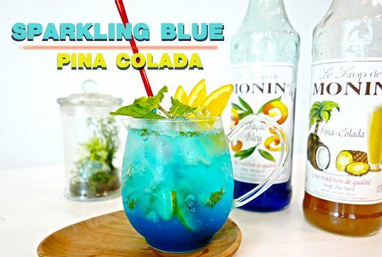 เมนูม็อกเทล 🍹🍊 SPARKLING BLUE PINA COLADA 🍍🏝